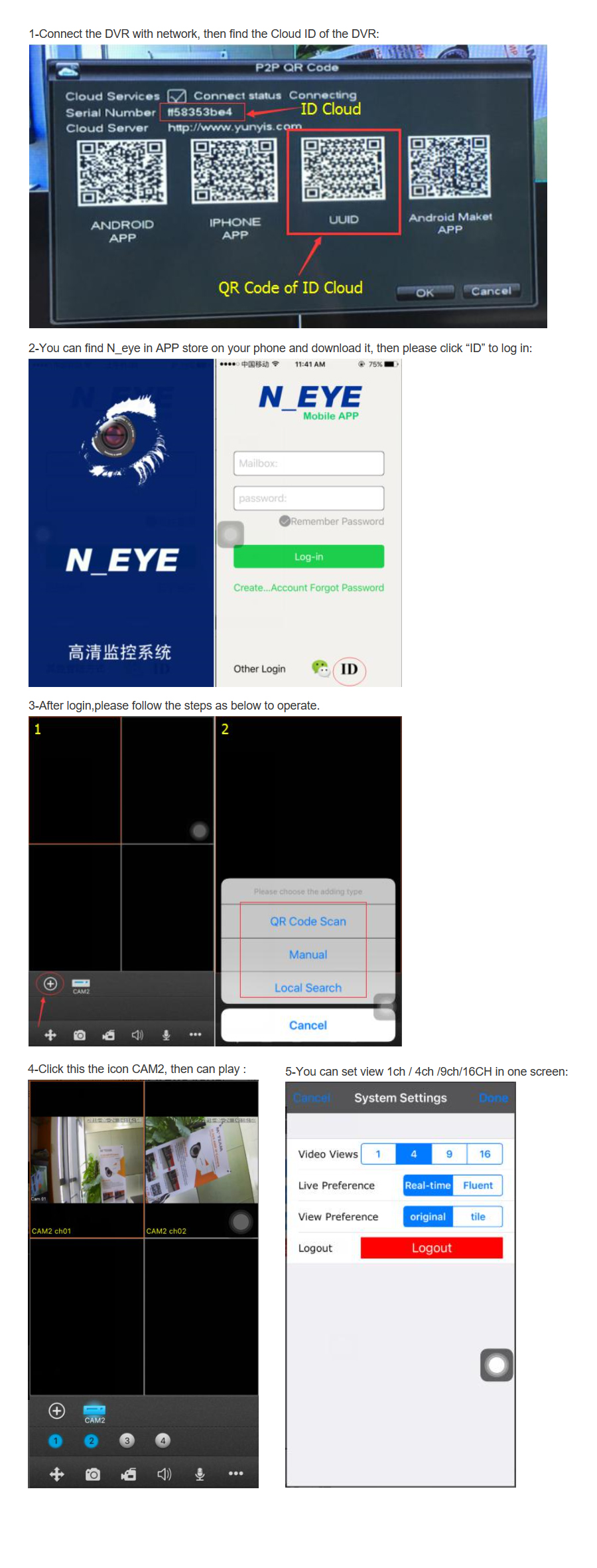 NEYE Remote View Setup